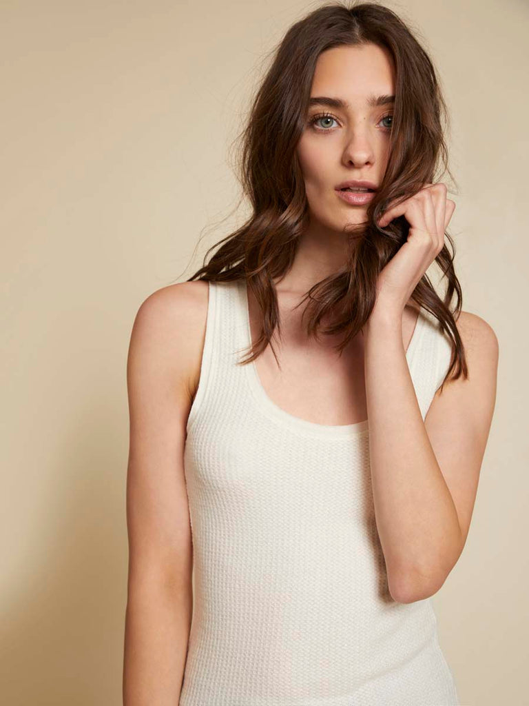 Nation LTD PCH Classic Tank in Waffle Knit in Creme