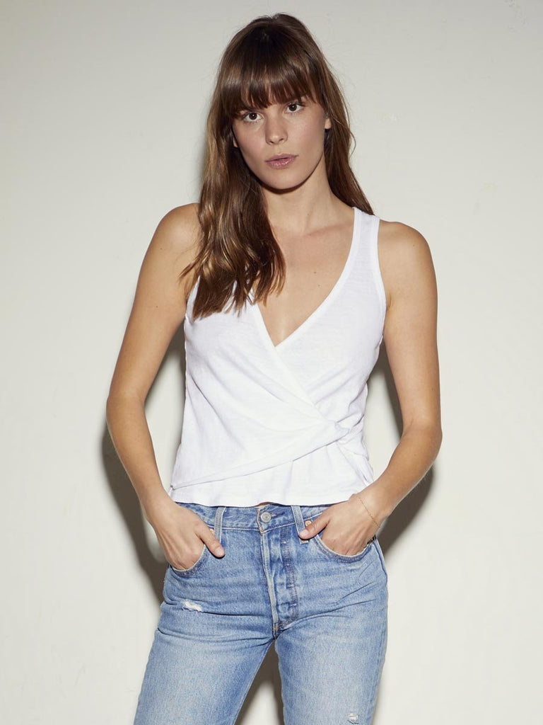 Nation LTD Zaria Tank in Recycled Cotton in White