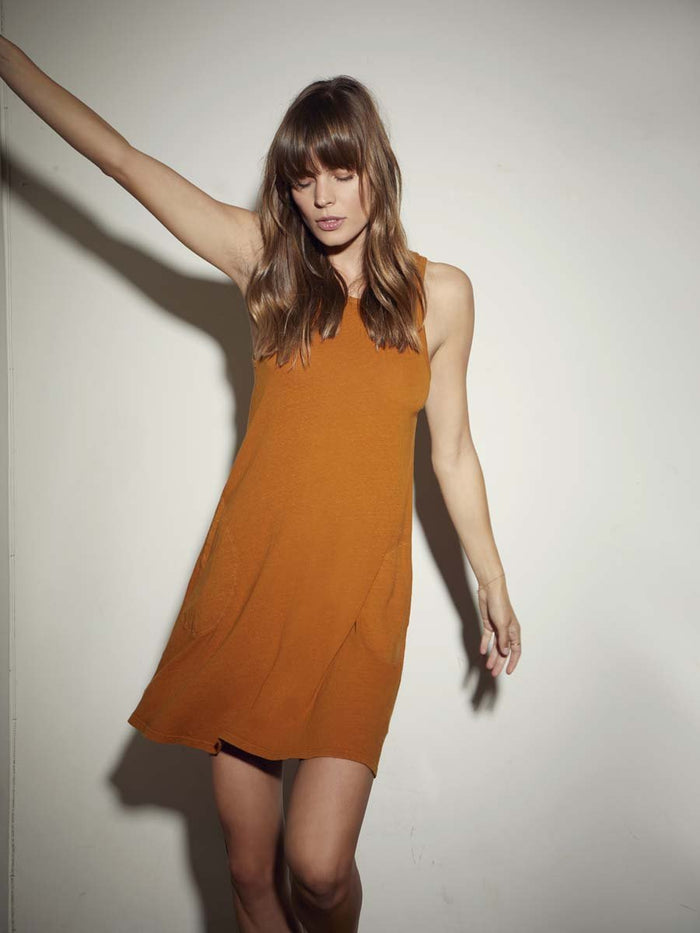 Nation LTD Maisie Dress in Recycled Cotton in Bronze