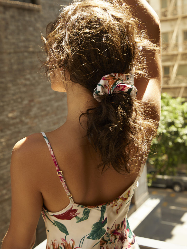 Nation LTD The Scrunchie in Floral in Cream Lily