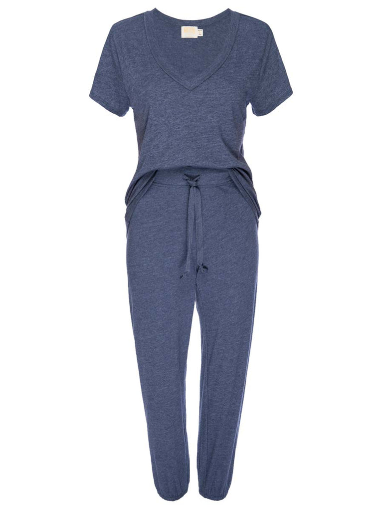 Nation LTD Cozy Sleep Set in Blue Heather Grey