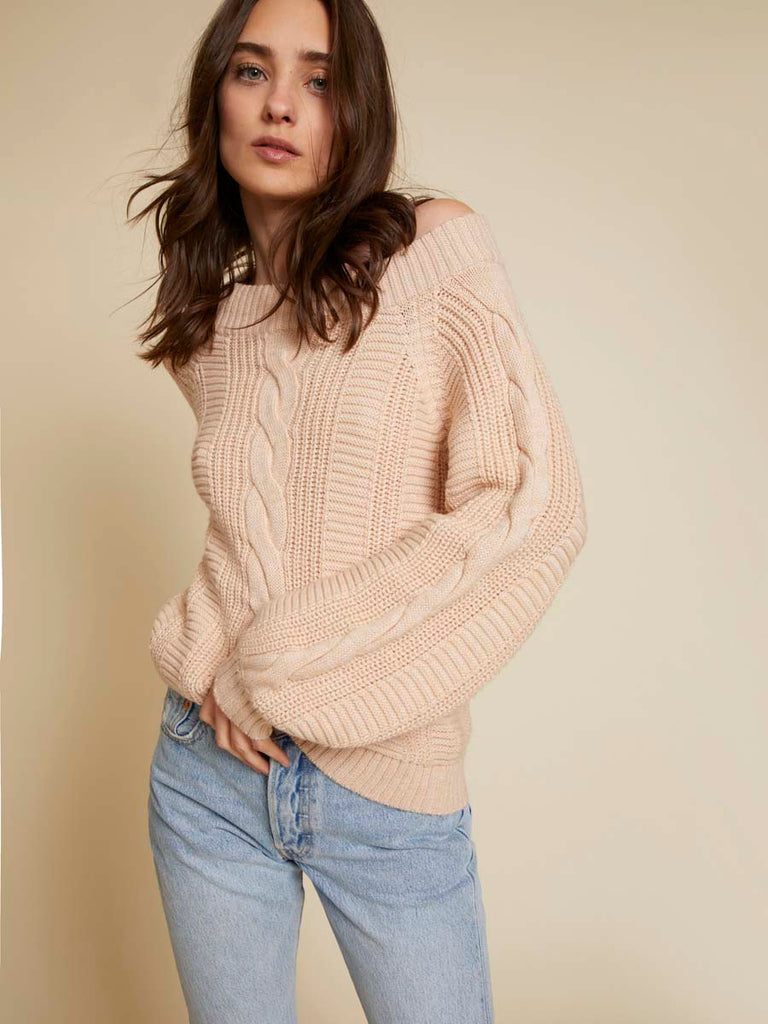 Nation LTD Carlotta Off the Shoulder Sweater in Ballerina