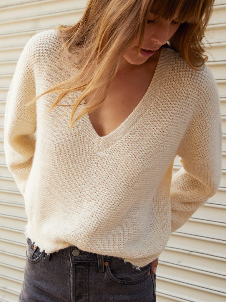 Nation LTD Zoe Sweater in Waffle Knit in Creme