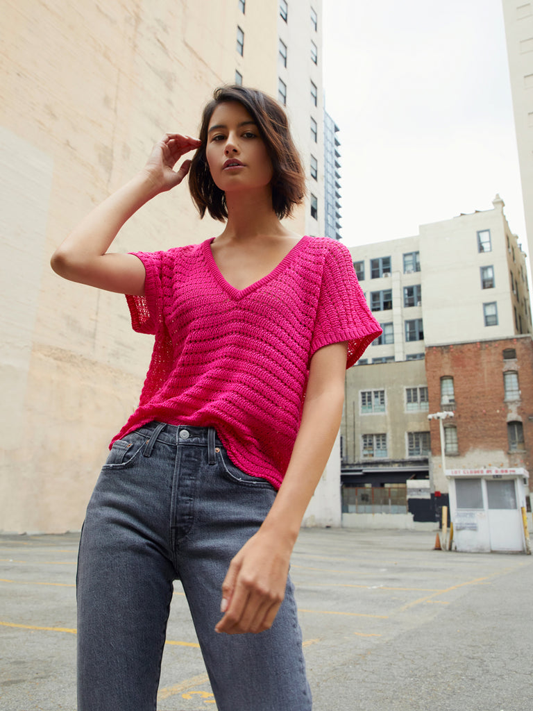 Nation LTD Paris Sweater Tee in Crochet in Ultra Pink