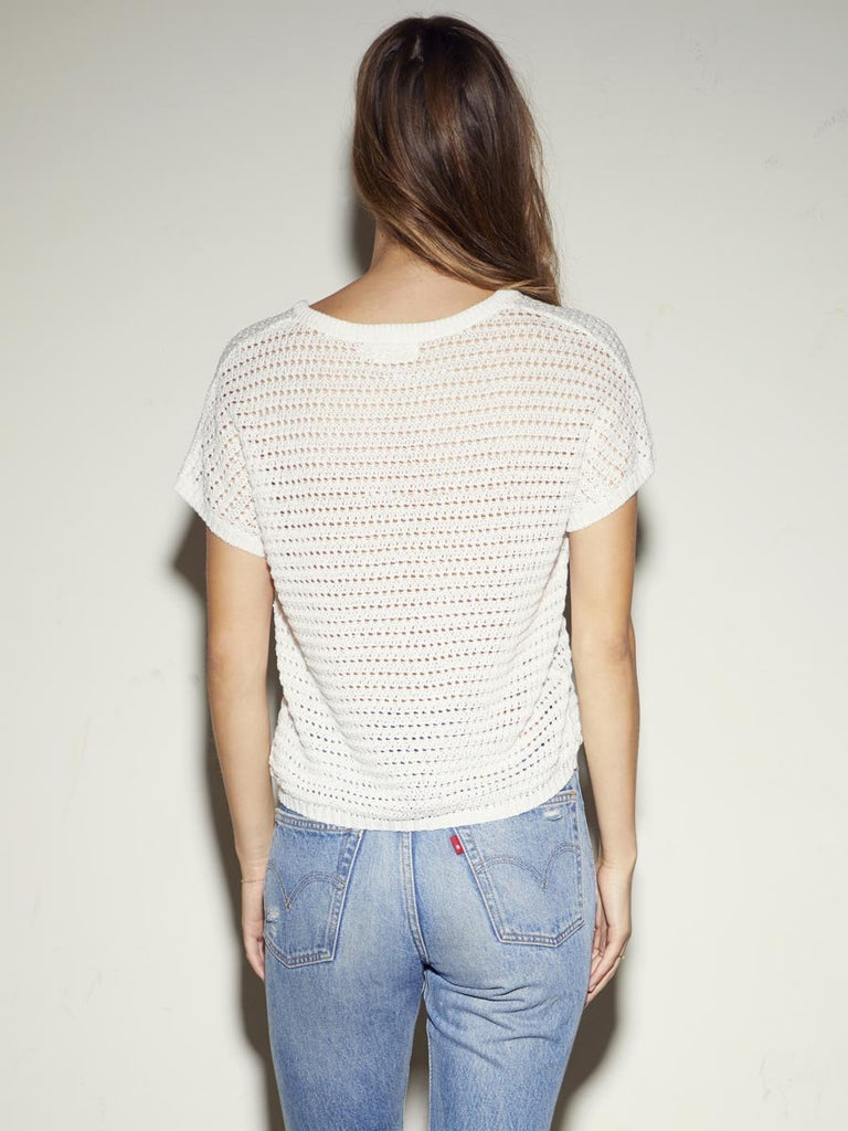 Nation LTD Paris Sweater Tee in Crochet in White