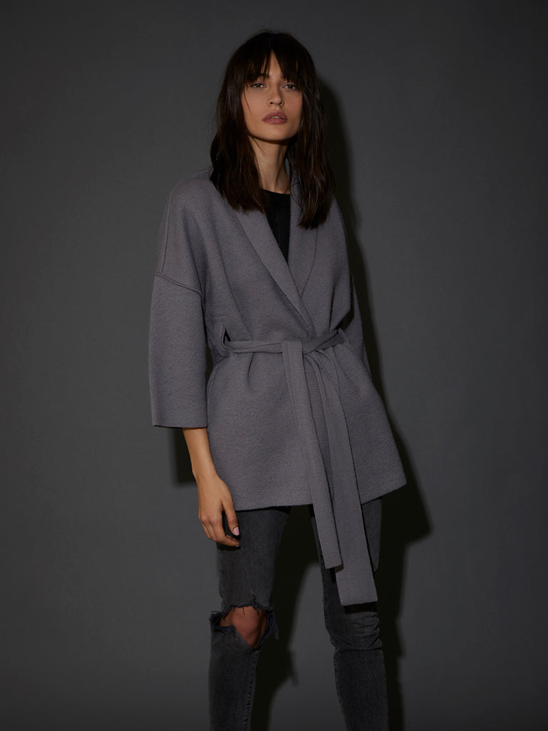 Nation LTD Hazel Wrap Coat in Alloy