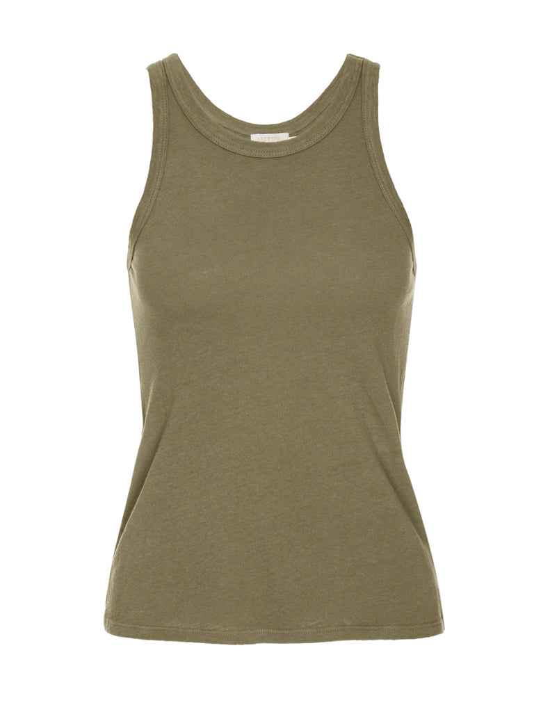 Nation LTD Birkin Tank in Recycled Cotton in Moss