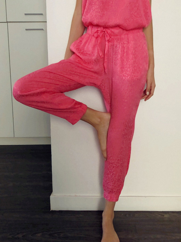 Nation LTD Fremont Jogger in Jacquard Sateen in Flamingo