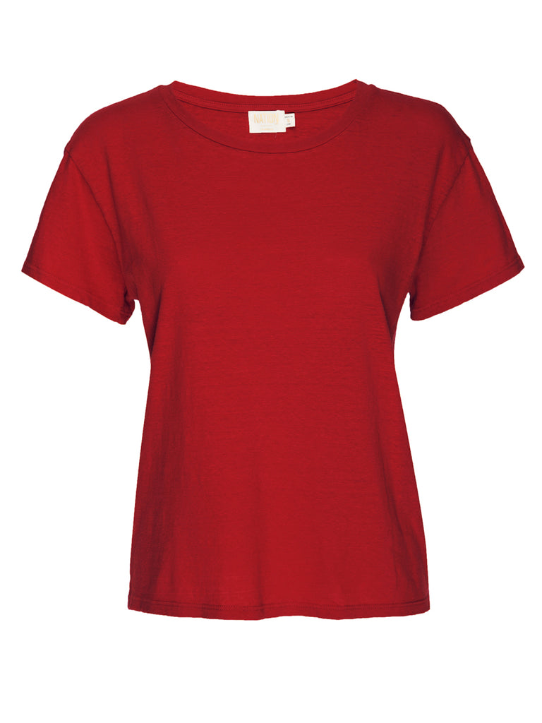 Nation LTD Marie Tee in Recycled Cotton in Crimson