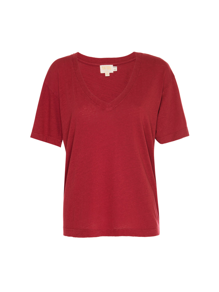 Nation LTD Nina Tee in Recycled Cotton in Crimson