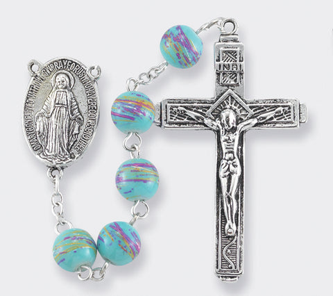 Teal Confetti Rosary Beads