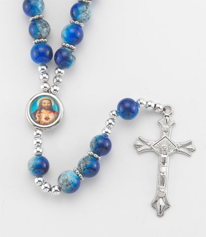 Blue Marble Finish Rosary