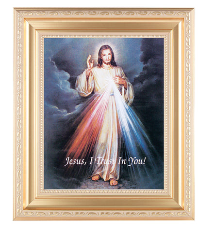 Divine Mercy in Gold Scroll Frame
