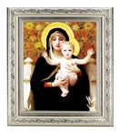 BOUGUEREAU: MADONNA OF THE ROSES IN A FINE DETAILED SCROLL CARVINGS ANTIQUE SILVER FRAME