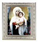 BOUGUEREAU: MADONNA AND CHILD IN A FINE DETAILED SCROLL CARVINGS ANTIQUE SILVER FRAME