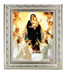 BOUGUEREAU: QUEEN OF THE ANGELS IN A FINE DETAILED SCROLL CARVINGS ANTIQUE SILVER FRAME