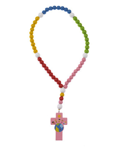 Light of the World Wood Rosary with Pink Cross