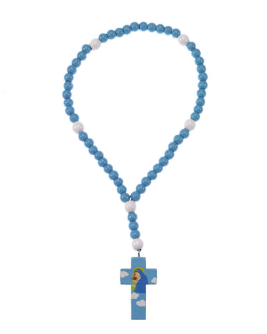 Mary with Jesus Wood Rosary Blue
