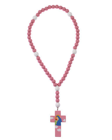 Mary with Jesus Wood Rosary Pink