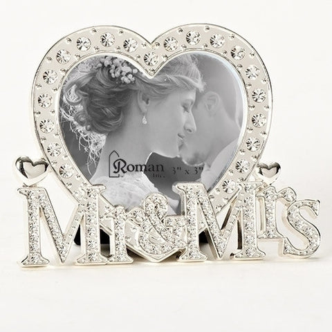 Mr. & Mrs. Heart Frame with Crystals - 3.5""