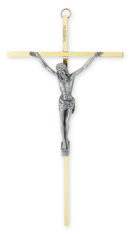 Brass Plated Cross with Antiqued Silver Plated Corpus 10""