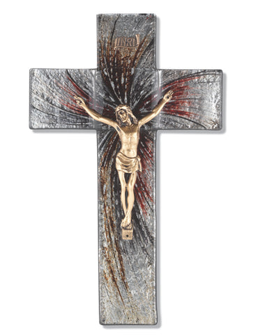 Shimmering Silver Glass Crucifix with Gold Corpus 10""