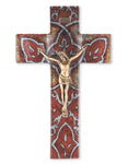 Burnt Orange Glass Crucifix with Gold Corpus 10""