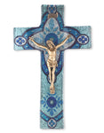 Light Aqua Glass Crucifix with Gold Corpus 10""
