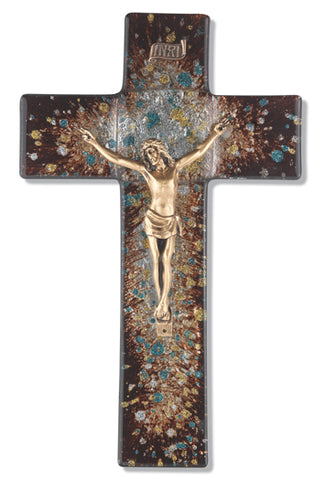 Rich Brown Speckled Glass Crucifix with Gold Corpus 10""