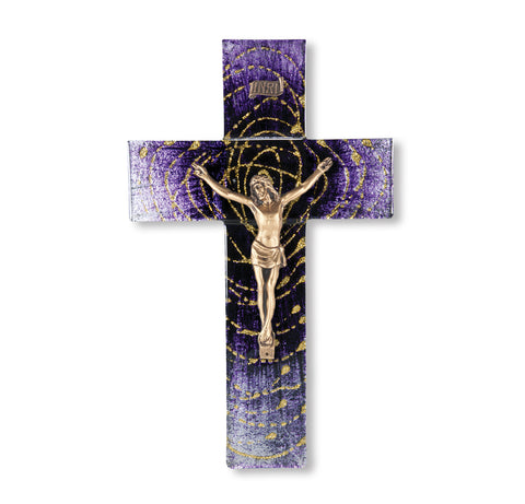 Extended Gold Halo in Spiral From Dark to Light Purple Gold Corpus Crucifix 10""