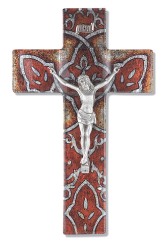 Burnt Orange Glass Cross with Pewter Corpus 10""