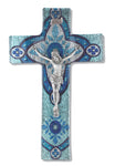 Light Aqua Glass Crucifix with Pewter Corpus 10""