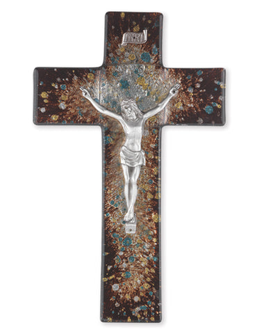 Rich Brown Speckled Glass Crucifix with Pewter Corpus 10""