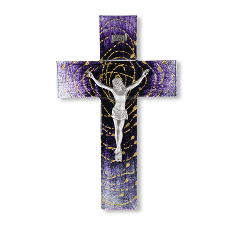 Extended Gold Halo in Spiral From Dark to Light Purple Pewter Corpus Crucifix 10""