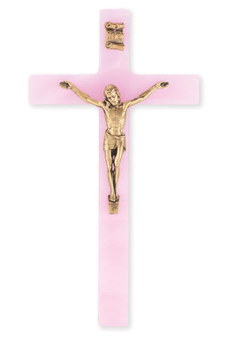 Pearlized Pink Crucifix with Gold Corpus 7""
