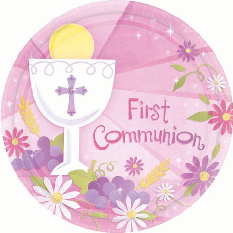 "Pink Communion 10.5"" Plates (18 Count)"