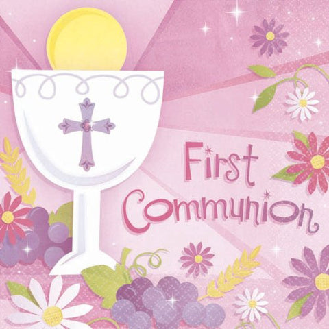 Pink Communion Lunch Napkins (36 Count)