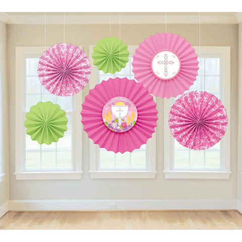 Pink and Green Communion Fan Decorations