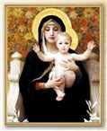 BOUGUEREAU: MADONNA OF THE FLOWERS GOLD FRAME EVERLASTING PLAQUE