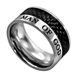 "Carbon Fiber Black Ring ""Man Of God"""