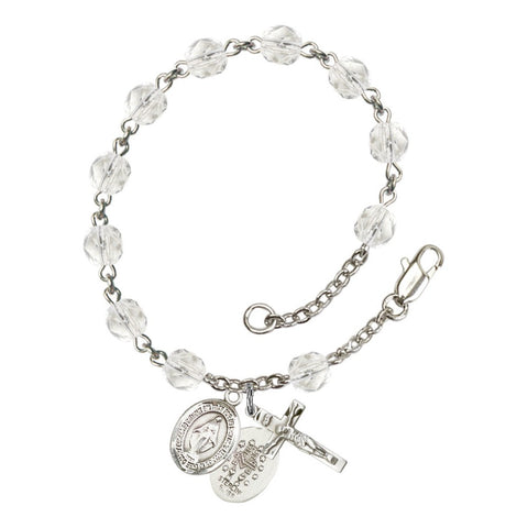 Miraculous Crystal April Rosary Bracelet 6mm