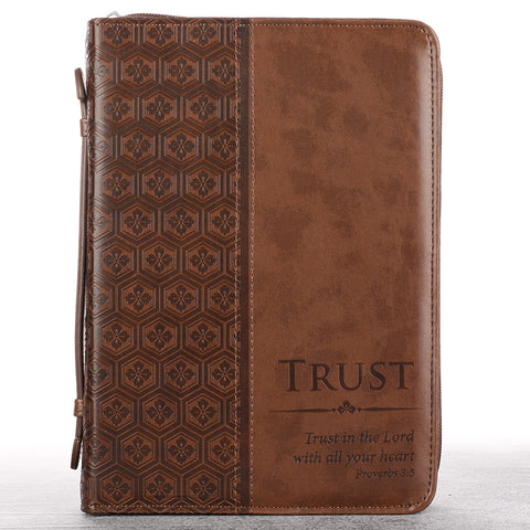 Trust In the Lord Brown Faux Leather Classic Bible Cover