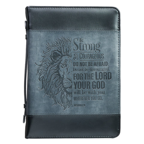 Be Strong Lion Two-Tone Faux Leather Bible Cover