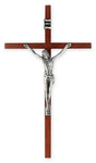 Wood Cross with Antiqued Silver Plated Corpus 10""