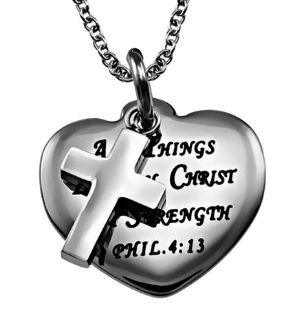 """Christ is my Strength"" Sweetheart Necklace"