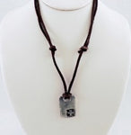 Corner Cross Leather Necklace