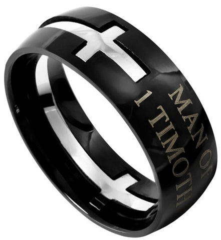 "Square Double Cross Black Ring ""Man Of God"""
