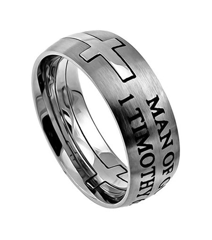 "Square Double Cross Silver Ring ""Man Of God"""