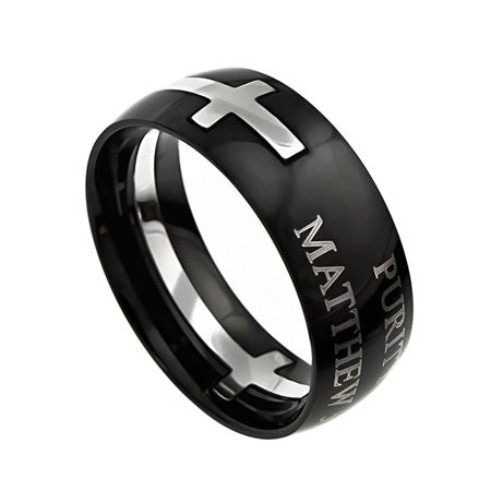 "Square Double Cross Black Ring ""Purity"""
