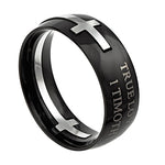 "Square Double Cross Black Ring ""True Love Waits"""